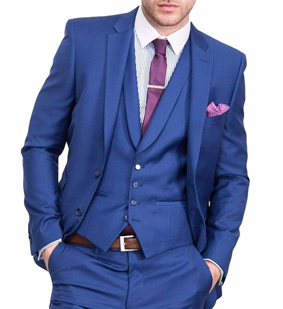 2019 Royal Blue Men\u0027S Suit Slim Fit Bridegroom/Wedding/Prom Suits Jacket  Tux Vest \u0026 Trousers Set Terno Jacket+Pants+Vest From Deborahao, $160.2
