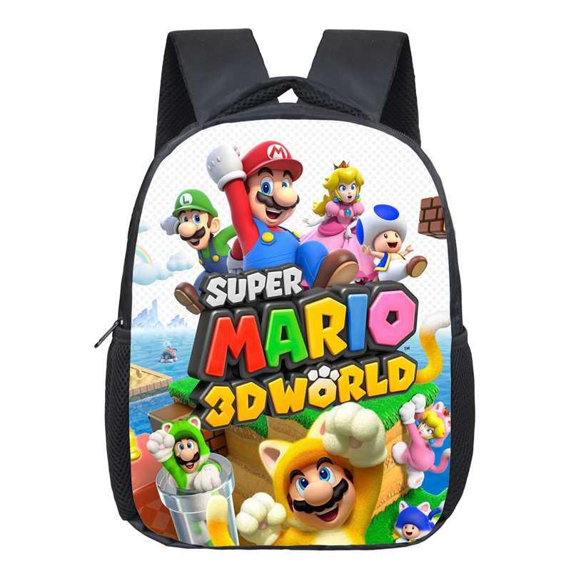 13 Inch Cartoon Super Mario Bros Kids Backpack Kindergarten School Bag Children Printing Backpack Girls Boys