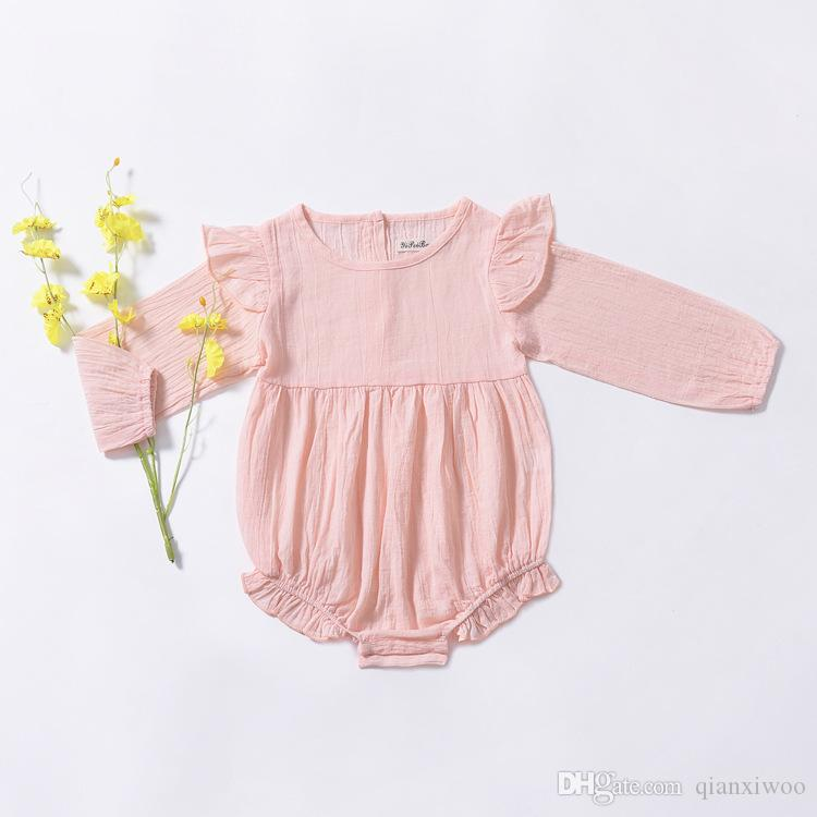 Ins Autumn Infant Baby Girls Rompers Kids Long Sleeve Onesies Toddlers Climb Clothes Child Girl Babies Rompers Pink White W290