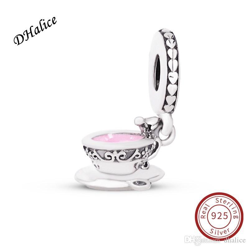 Enchanted Tea Tasse Pendentif Charme Authentique 925 Sterling Argent Clair CZ Perles Convient Serpent Bracelets DIY Fine Jewelry 797064EN160 Charme