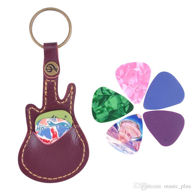 Deri Kechain Gitar pena Çanta Tutucu Kılıf Kırmızı ile 5 adet Seçtikleri Seçtikleri