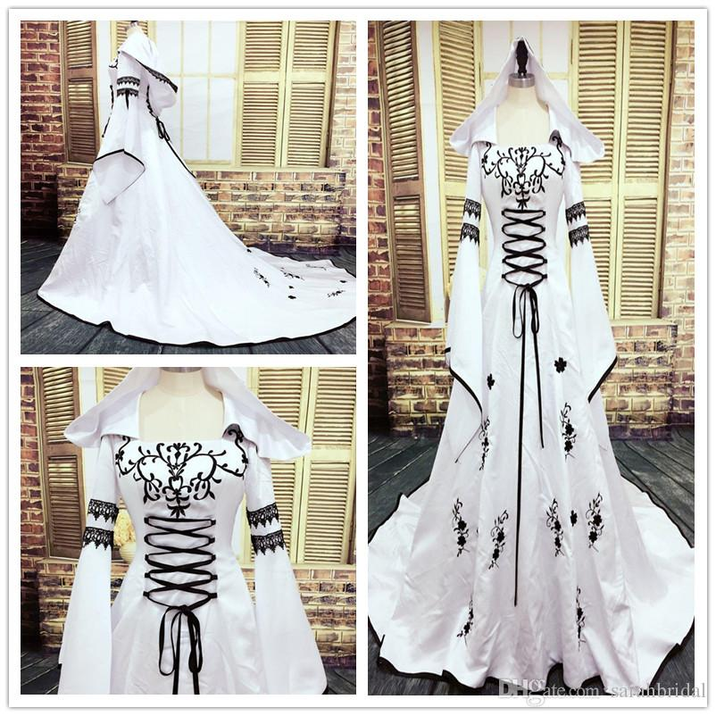 2019 Gothic Wedding Dress Black and White Muslim Dresses with Hat Exquisite Embroidery Lace Appliques Bridal Gowns custom made Bell Sleeves