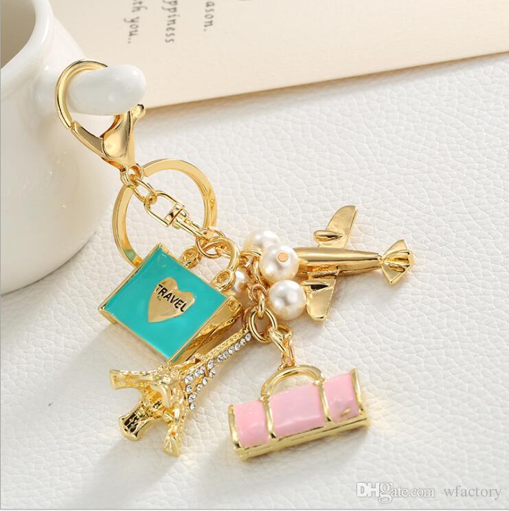 Eiffel Tower Airplane Purse Keychain, Paris Tour Souvenirs Rhinestone Key Chain Ring Car HandBag Decoration womens Jewelry Wedding Favor