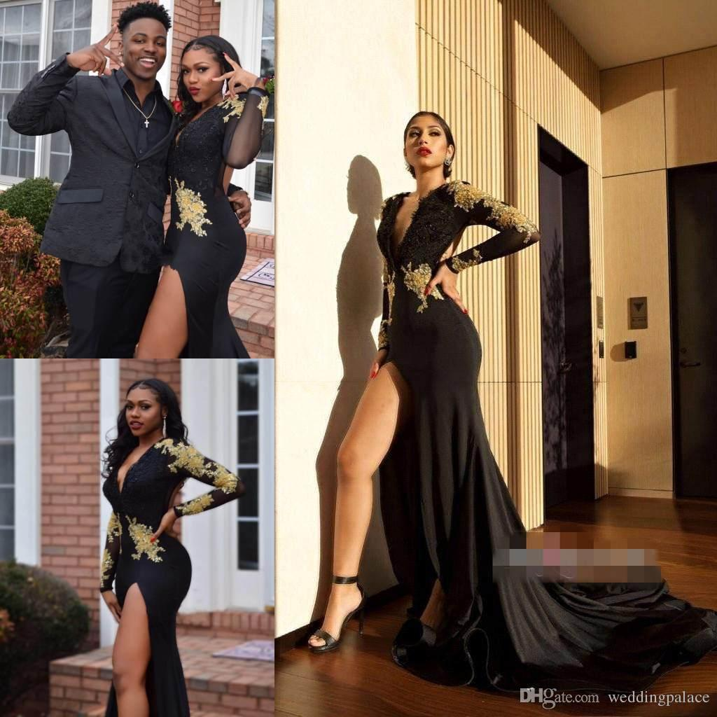 636b43786efd9 2018 Sexy Deep V-Neck Prom Dresses Long Sleeve Appliques Stretch Satin Side  Split Backless Formal Party Evening Dresses Prom Gowns