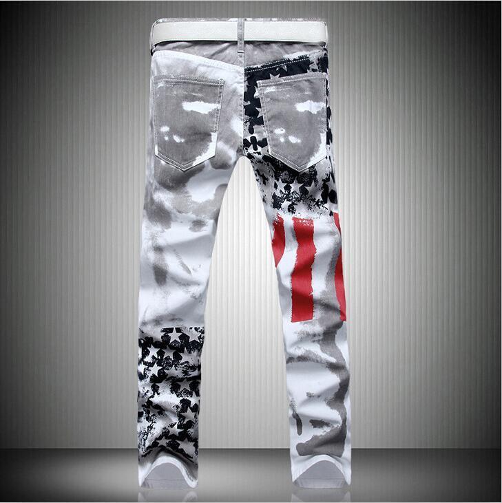 Großhandel 2018 Resilience Lange Hosen Modekleidung Herren Designer Jeans Denim Hose Mit Amerikanischer Flagge Gedruckt Plus Größe Von Popooa, $38.79