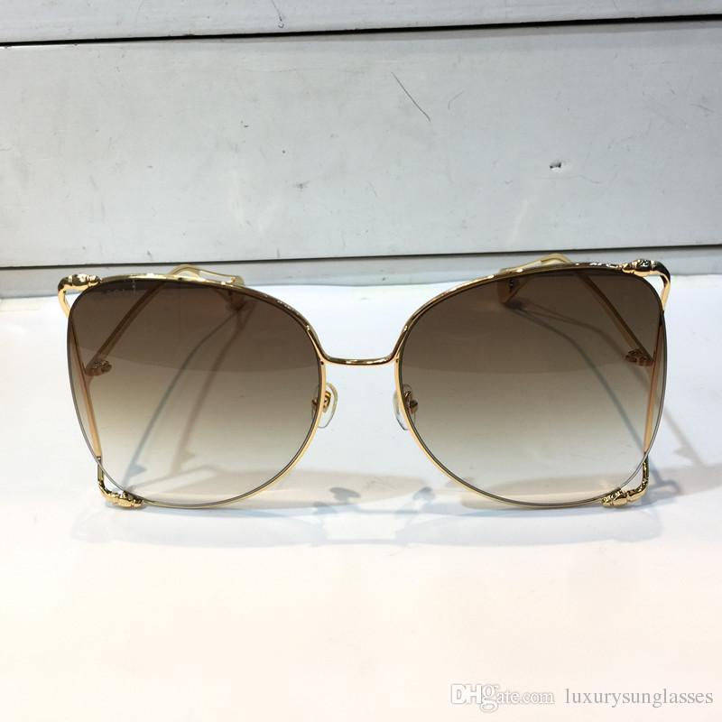 Occhiali da sole stile per grande popolare Top 0252 Modello Hollow Model Summer Donne Protezione UV Protezione UV Quality Frame Moda con CAS Engim