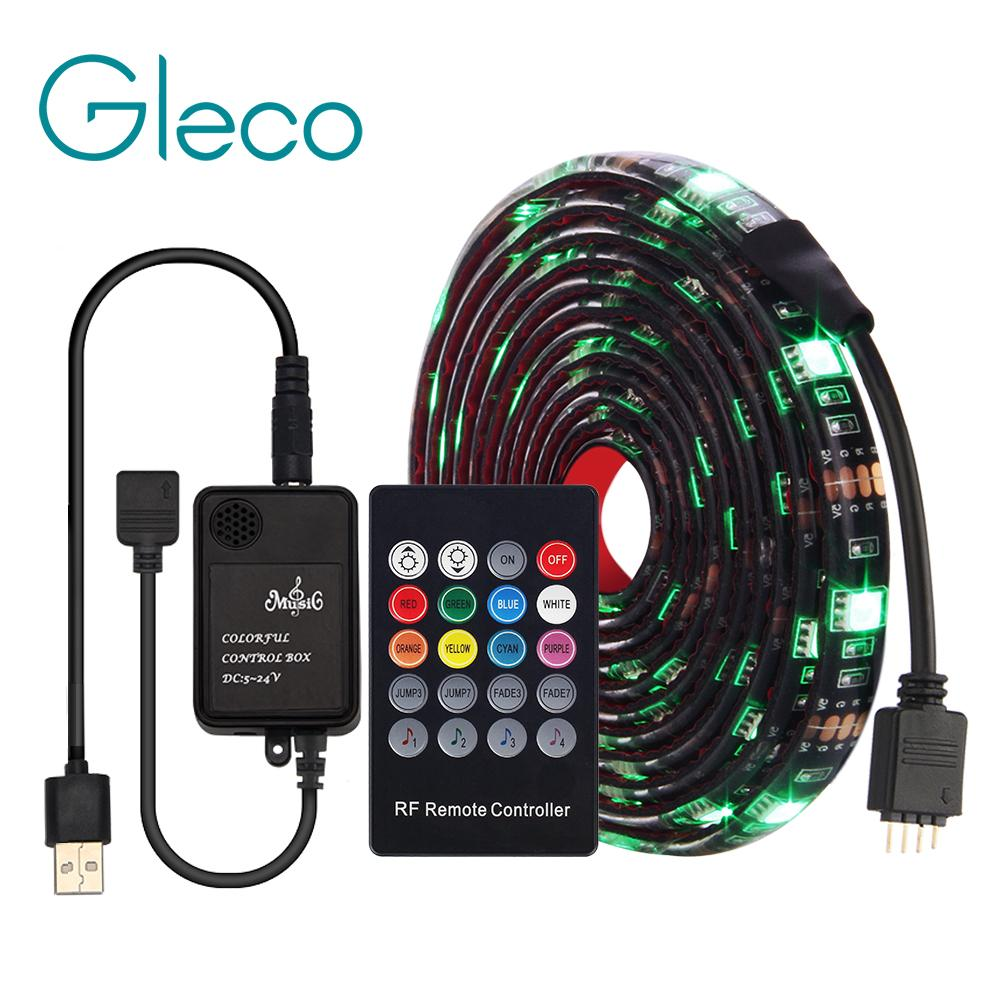 size 40 7d857 968ac USB LED Strip 5050 RGB With Music Controller 20Key RF Remote 50/100/200CM  Flexible Light TV Background Lighting Set Rgb Led Light Strips Outdoor Led  ...