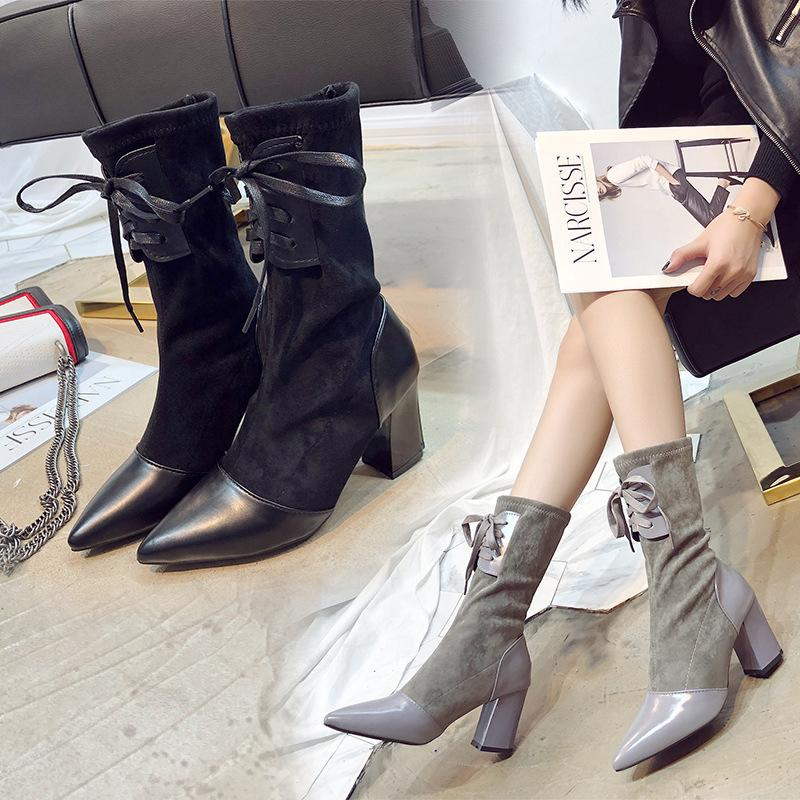 black/gray patchwork mid-calf boots women pointed toe lace up gladiator martin botines mujer 2018 high heels winter botas s454
