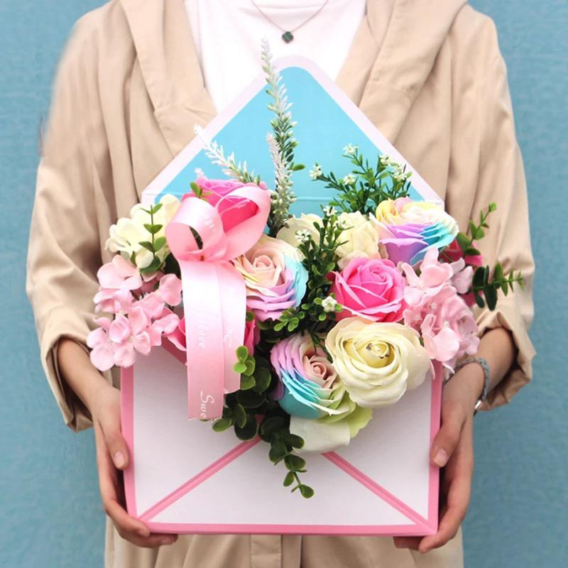 35*24*8Cm Mini Creative Envelope Fold Flower Box Rose Decoration Gift Box Flower Packing Boxes For Home Party Wedding