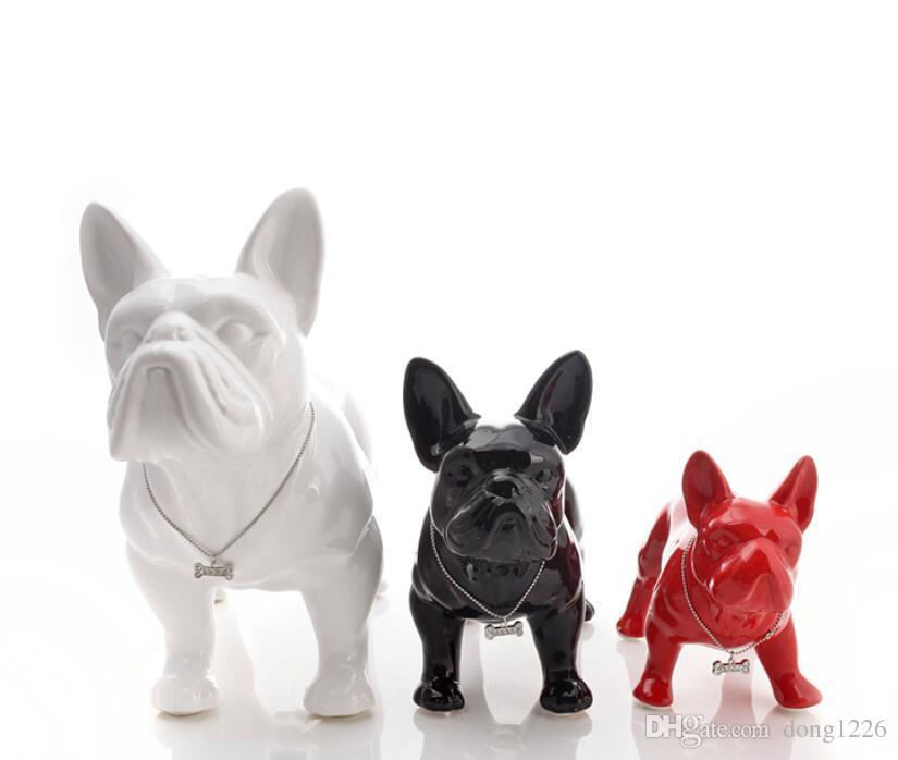 لطيف السيراميك الفرنسية البلدغ الكلب تمثال ديكور المنزل الحرف زخرفة غرفة الكلب زخرفة الخزف التماثيل الحيوانية الزينة