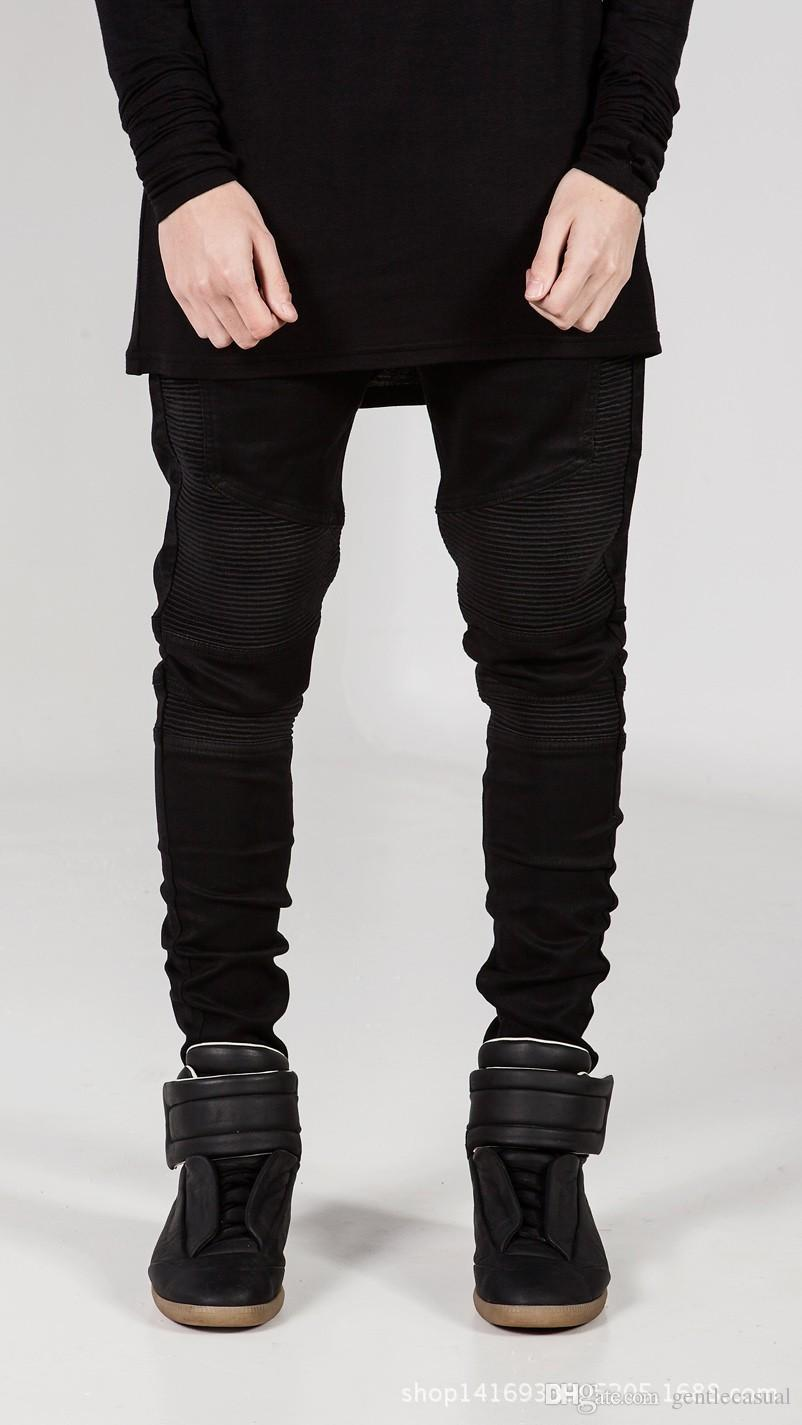 Casual Jeans High Street Jeans for Men Cool Wear Clothes Ripped Grey Long Pencil Pants Trousers