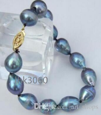 """beau bracelet de perle grise de la mer du Sud 11-14mm 7.5-8 """"fermoir en or jaune 14k @"""