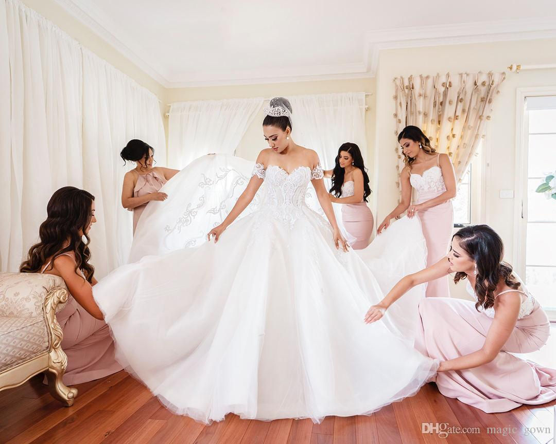 2019 princesa rendas vestido de baile vestidos de casamento fora do ombro camadas de apliques de tule capela trem vestido de noiva vestido de noiva vestido de novia