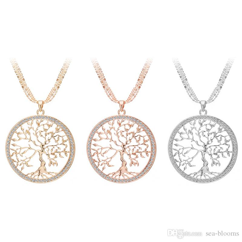 Tree Of Life Rose Gold Silver Color Long Necklace for Women Fashion Crystal Multilayer Pendant Necklace Female Jewelry D788S