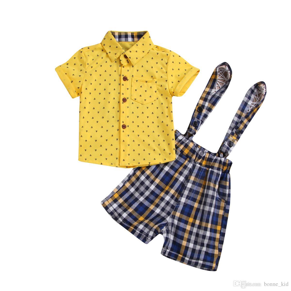 Neugeborene Babys Plaidoverall-Gelbhemden 2pcs stellten Ausstattungsbabykindjungen-Segelbootkleidung nette Sommerkleine Herrklage 0-24M ein