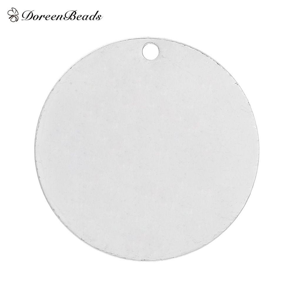 """DoreenBeads медь пустой штамповка Теги подвески круглый для ожерелья серьги браслеты серебряный цвет 25 мм(1"""") диаметр,20 шт."""