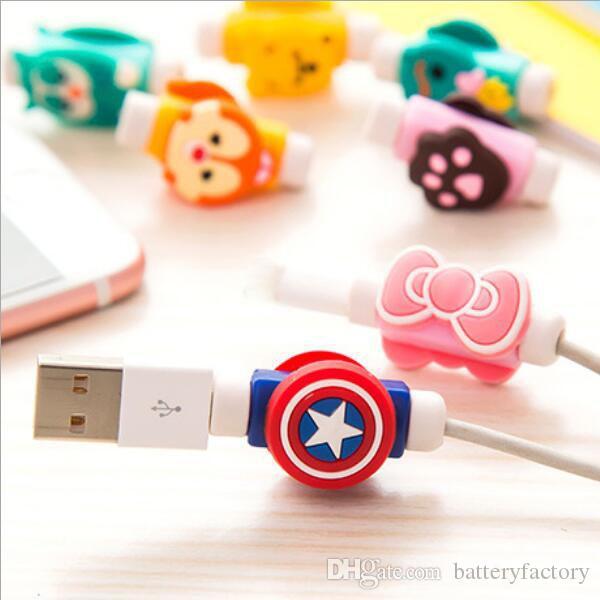 Padrões múltiplos desenhos animados USB Phones Cable fone de ouvido Protector Headphones Linha Saver para celular Tablets cabo de carregamento Cabo de dados