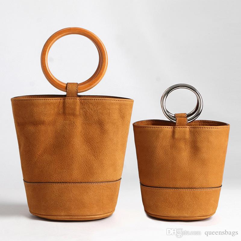 New Metal Donut Handheld Vintage Suede Top Layer Of Cowhide Bonsai Bag Single-Shoulder Wooden Bracelet Bucket Bag