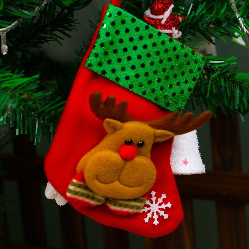 DHL Mini Noël Hanging Socks bonbons sac cadeau bonhomme de neige Père Noël cerf Ours Bas de Noël pour l'arbre de Noël Pendentif HH7-1778