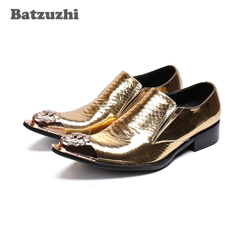 Nuovi uomini di lusso scarpe fatte a mano di alta qualità formale in vera pelle scarpe da uomo per uomo punta di metallo oro scarpe da uomo partito, grande EU38-46