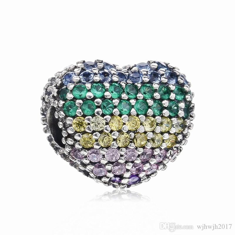 New Real 925 Sterling Silver Bead Colorful Open My Heart Clip Charm Clear Crystal Fit Original European Women Bracelet Bangle DIY Jewelry