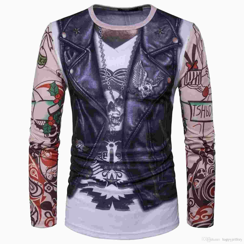 Mens Camisas de Manga Longa com 3D Imprint Colete Tatuagem Casual Slim Fit CT336