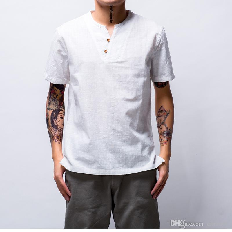 Sommer Baumwollhemden Männer Kurzarm V-Ausschnitt Design Reine Farbe Chinese Classic Bluse Dünne Casual T-Shirt M-4XL Größe