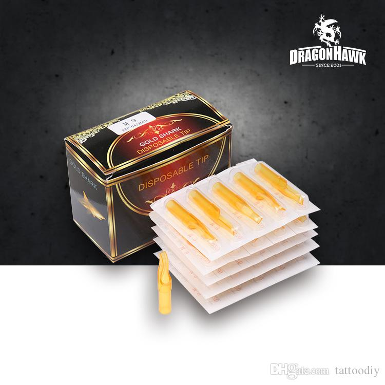 50pcs Disposable Tattoo Tips Sterilized Golden Transparent Tips Flat Tips for Shader Needles M1 RM F Sizes