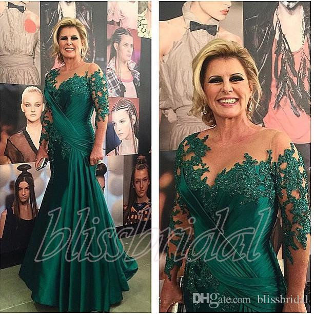 2019 Elegant Dark Green Mother Of The Bride Dresses 3/4 Long Sleeves Applique Lace Pleats Sheer Neck Mermaid Formal Evening Gowns Plus Size