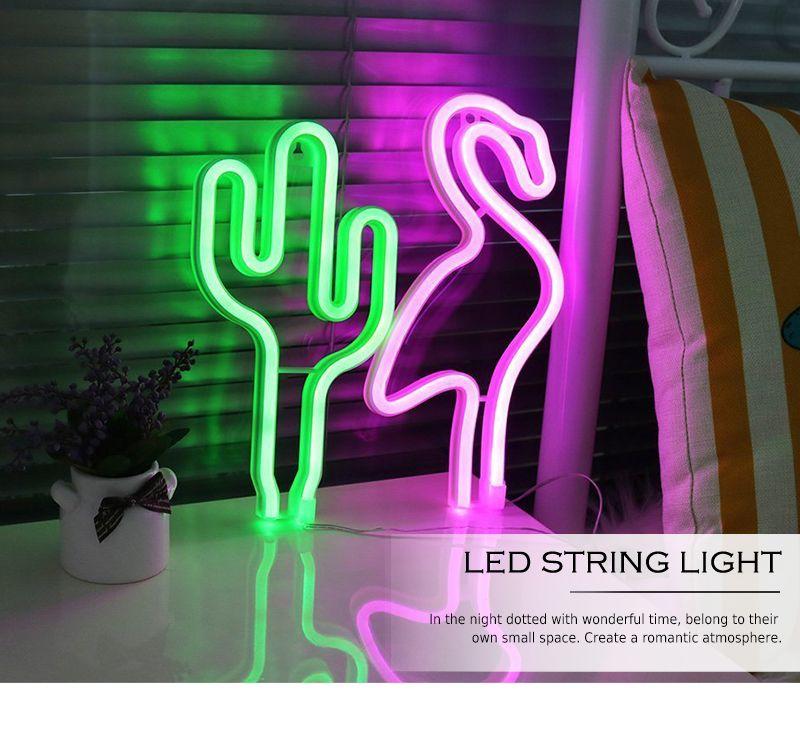 LED Neon Sign Night Lights Cactus Flamingos Unique Design Soft Light Wall Decor Lamp Neon Sign Bright Flamingo Wall Light For Rooms Decor