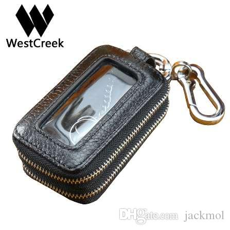 Westcreek Genuine Leather Men Double Zipper Car Key Wallets Women Minimalist Key Holder Fashion Housekeeper Keychain