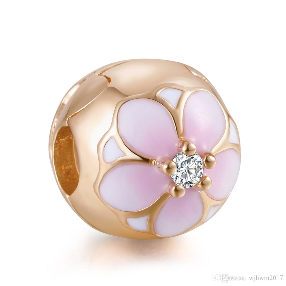 Authentic 925 Sterling Silver Bead Charm Pink & White Enamel Rose Magnolia Bloom Flower Clip Stopper Bead Fit Brand Bracelet Diy Jewelry