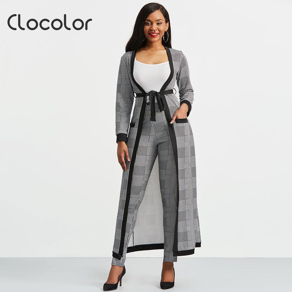 Clocolor 3piece conjunto 2018 outono e inverno novo jaqueta de houndstooth corte e calças definir mulher ternos senhora terno escritório casaco de lã