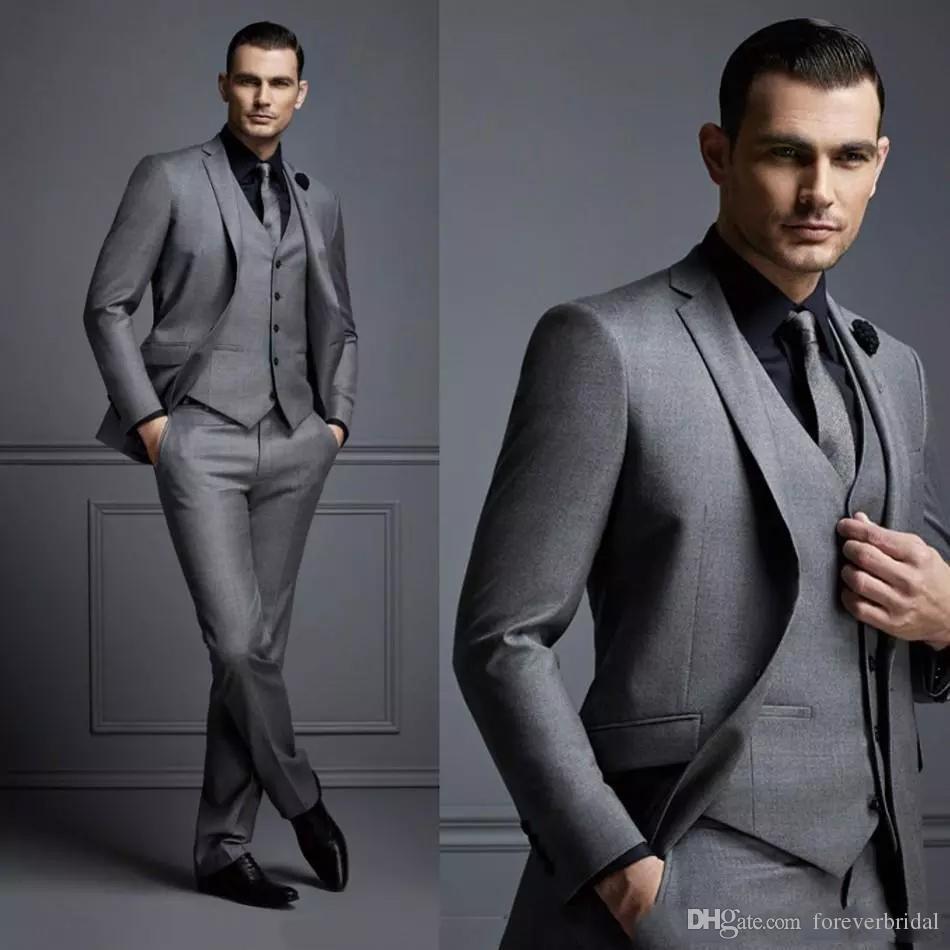 New Arrival Custom Made Groomsmen Peakel Lapel Groom Tuxedos Gray Best Man Suit Bridegroom Wedding/Prom/Dinner Suits (Jacket+Pants+Vest)