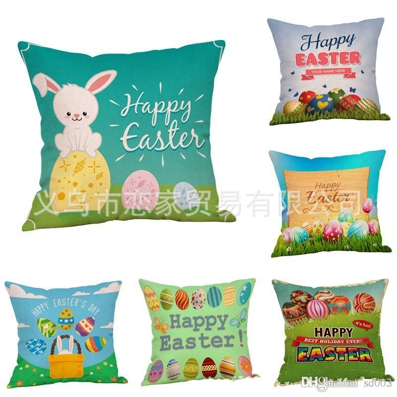Flax Pillowslip Easter Egg Theme Throw Pillow Case Cute Rabbit Printing Cushion Cover For Sofa Bed Home Decorations Many Styles 6lj ZZ