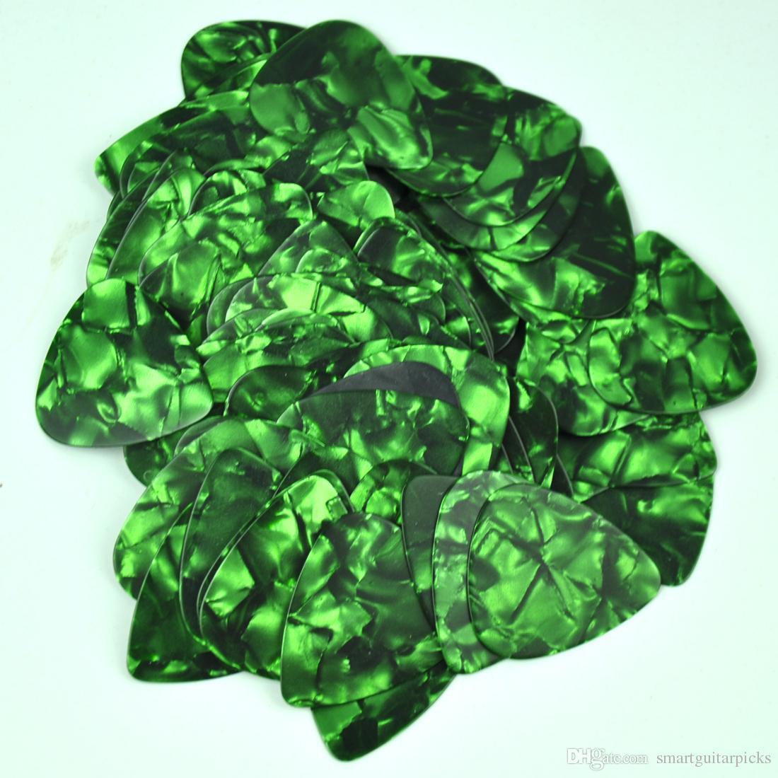 100 adet bir sürü Ince 0.46mm Boş gitar Pectrums Selüloit Inci Yeşil alır