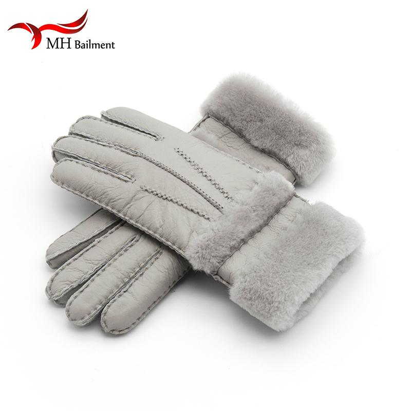 Top Quality Genuine Leather Warm Fur Glove For Men Women Thermal Winter Fashion Sheepskin Ourdoor Thick Five Finger Gloves G5 D18110705