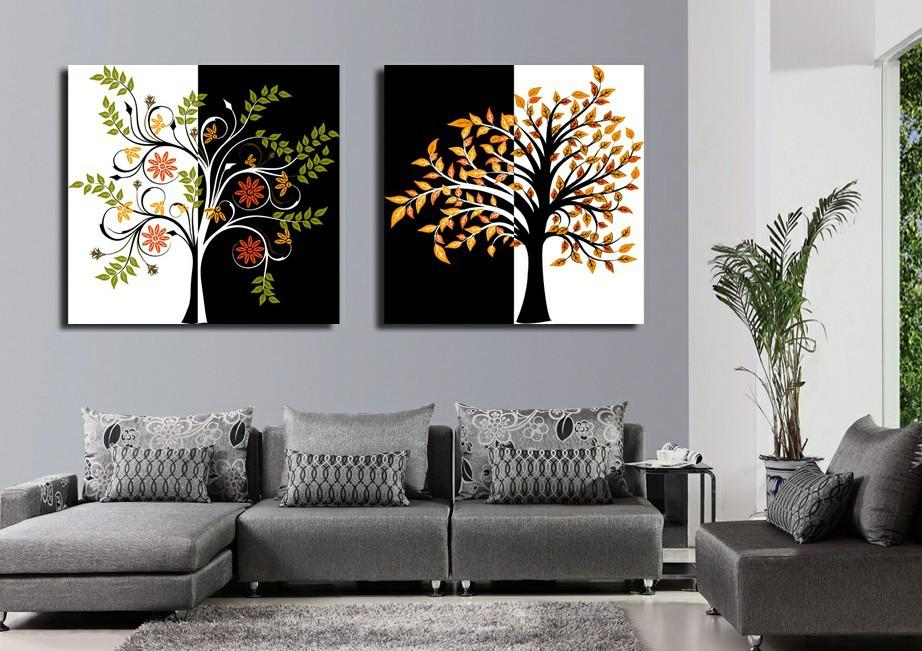 2 Piece Print Painting Canvas Wall Art Modern Flower Decoration Picture Abstract Art Tree Impression