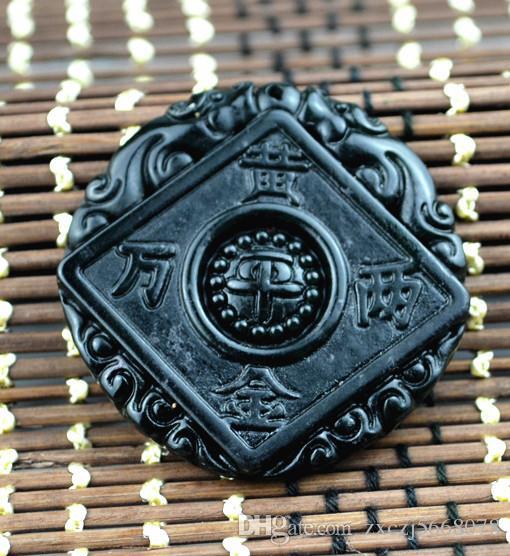 2018 nuevo chino natural negro jade verde dinero colgante, collar, verano, adornos, piedra natural, mano, grabado