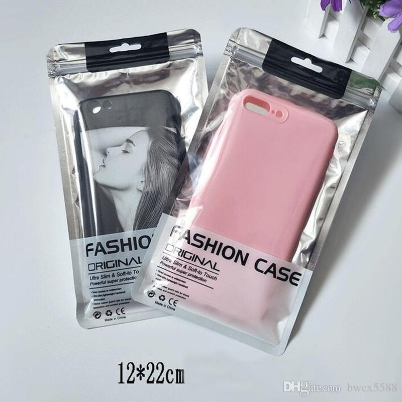 2000Pcs 13.5X24cm 12*22cm 11*19cm Aluminum Foil zipper Bag Cell Phone Accessories Leather Cover Packaging Package Bag for 6.7 inch case
