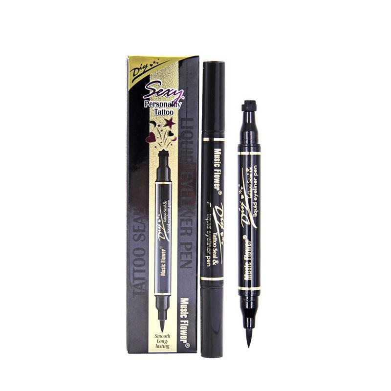 Double-headed Eyeliner Pencil With Miss Stamp Black Waterproof Liquid wing Eye Liner Cosmetics