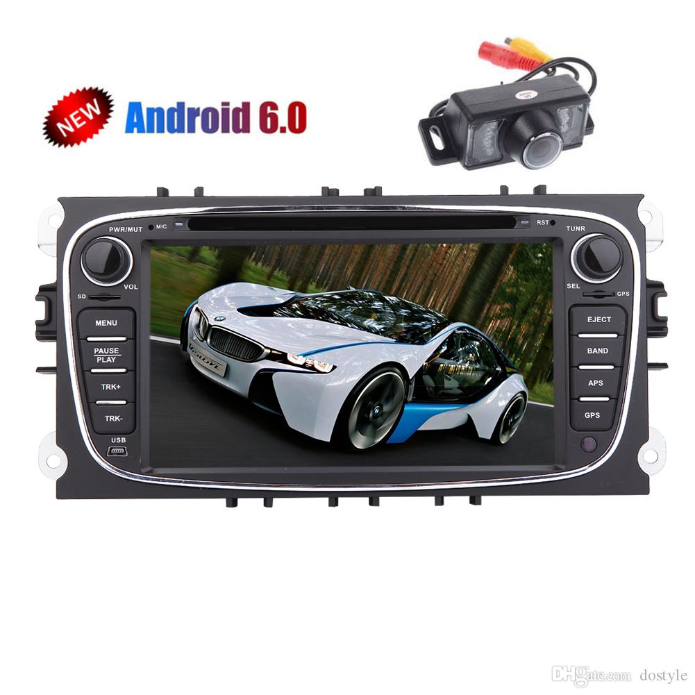 Backup Camera 7'' Android 6.0 Quad-core GPS Car Stereo HD Multi-touchscreen Double din Car dvd Player For Ford Focus Mondeo GPS Navigation