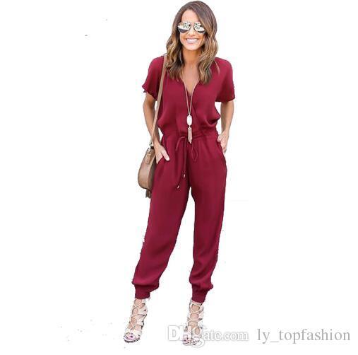 2018 Sexy V-Ausschnitt plissiert Taille Tasche Strampler Frauen Overall loser Kreuz Overall Schwarz Rot Short Sleeve Playsuit