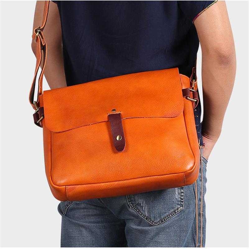 Nesitu Brown Coffee Thick Vegetable Tanned Real Skin Genuine Leather Women Men Messenger Bags Female Male Shoulder Bag M6386