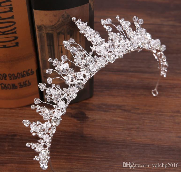 Bridal diamond hand crown Silver Crystal Princess Crown hoop crown ornament