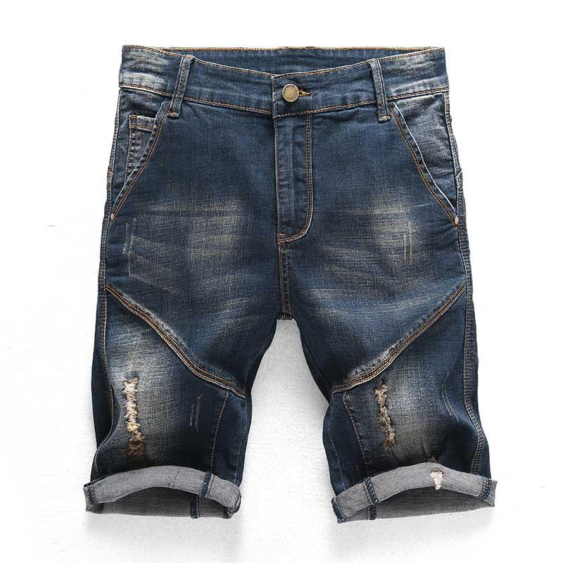 Newsosoo Fashion Summer Men's Ripped Short Jeans With Hole Slim Fit Straight Distressed Denim Short Men Knee Length
