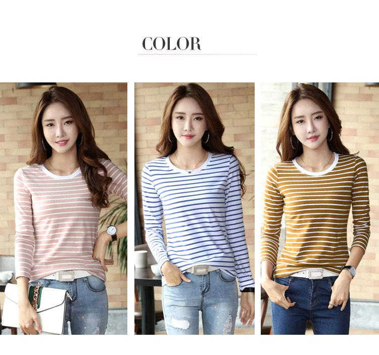 Autumn Winter Striped T-shirt Women Casual Plus Size Tops Tees Femme Long Sleeve Women Cotton Tshirt Camisetas Mujer 2019 (1)