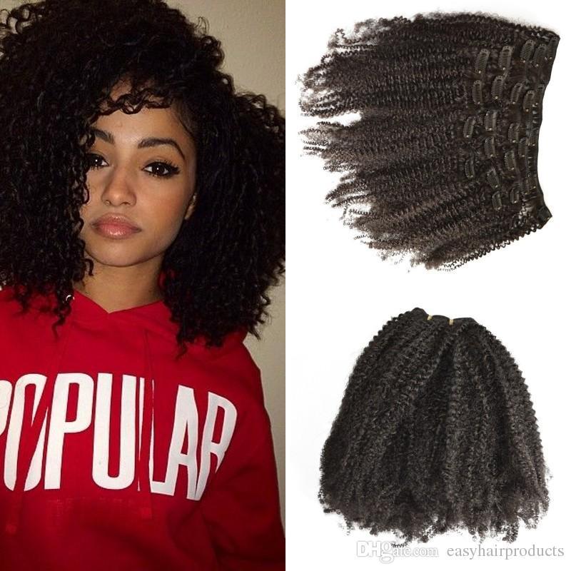 Pas cher 4a, 4b, Afro Kinky Curly Clip de l'Indien Extensions de cheveux humains en couleur naturelle pour les femmes noires G-EASY