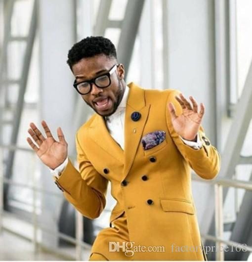Cool Golden Groomsmen Peak Lapel Double-Breasted (Jacket+Pants+Tie) Groom Tuxedos Groomsmen Best Man Suit Mens Wedding Suits Bridegroom