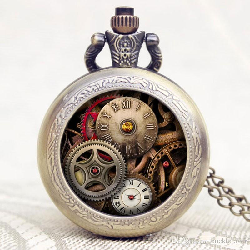 1 PC Relogio 드 Bolso 새로운 도착 골동품 디자인 기어 쿼츠 시계 주머니 포켓 시계 남자에 대한 남자